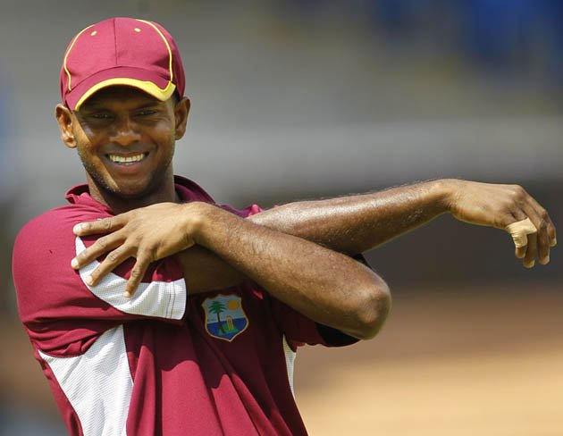 West Indie's Shivnarine Chanderpaul stretches during a team training session in Chennai, India, Wednesday, March 16, 2011. West Indies will play England in a Cricket World Cup match on March 17. (AP Photo/Kirsty Wigglesworth)