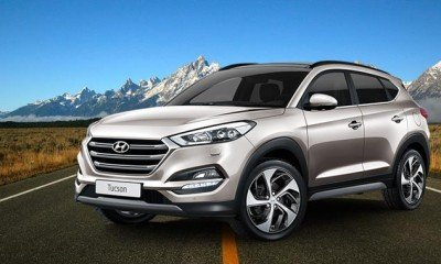 Hyundai SUV Tucson at Dealership Yard before release