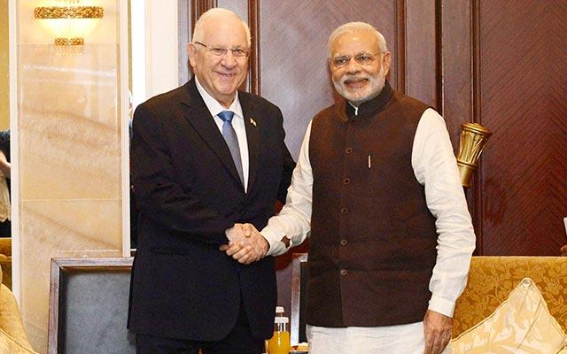 Narendra Modi with Israeli President Reuven Rivlin