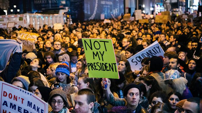 He is not my President, people are protesting against Trump's victory