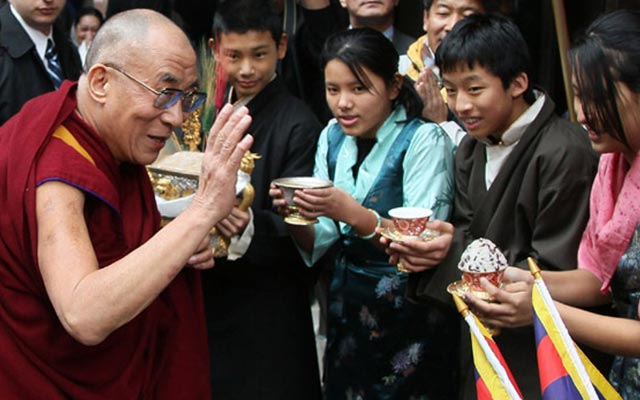 The Dalai Lama with his followers