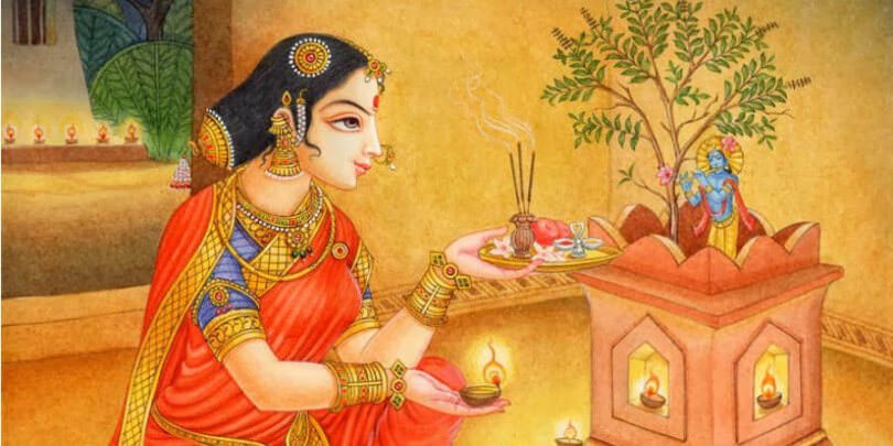 Tulsi Plant Hd Wallpaper: Essence Of Worshipping Goddess Tulsi During The Holy Month