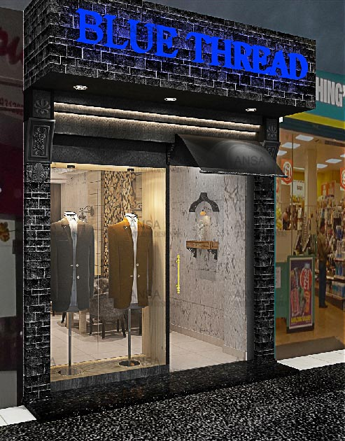 Designing of shop interiors, especially shops located in malls