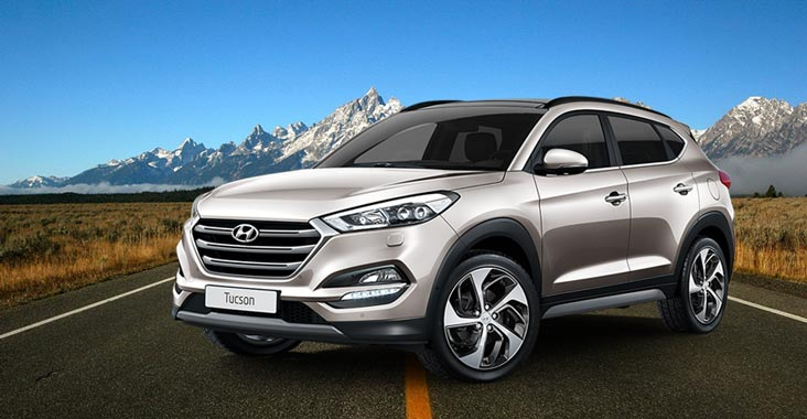 Hyundai SUV Tucson at Dealership Yard before release
